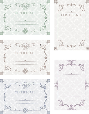 sertificate: A set of certificates. Template certificates, diplomas, letters, greetings, notes, in color, with a vintage background in vector