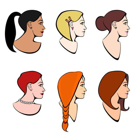 Vector set of illustrations head girls with different hairstyles and different hair color Illustration