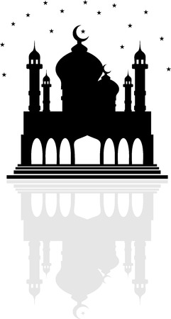 domes: Religion mosque with Crescent moon and stars, and a reflection of the two domes