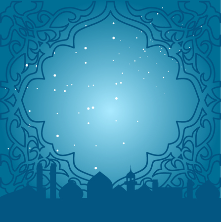 eastern: Greeting card in Arabic style. Eastern frame with a blue background with mosques