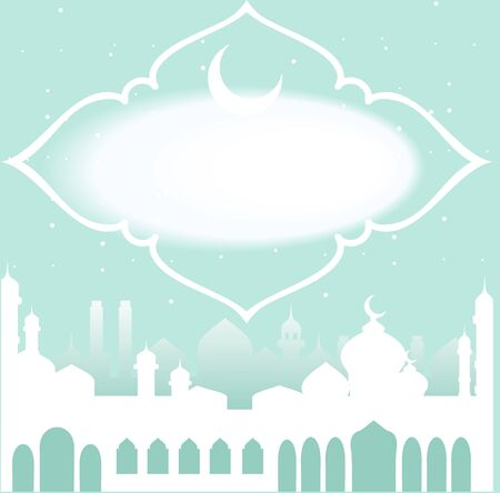 minarets: Greeting card in Arabic style. An Eastern city with minarets and Crescent on a green background