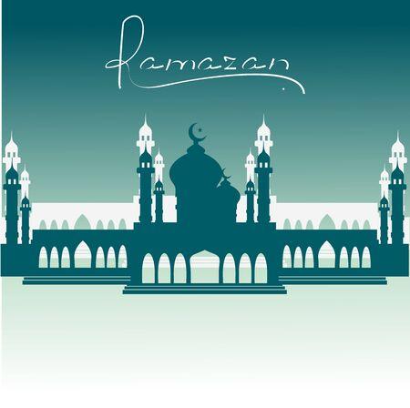ramazan: A mosque with a Crescent in the night. Ramazan