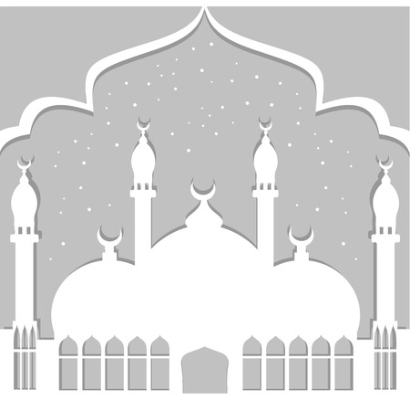 minarets: Greeting card in Arabic style. An Eastern city with minarets and Crescent. White-black Illustration