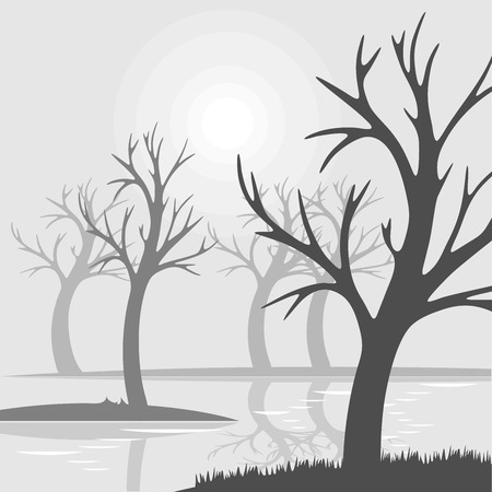 Bare trees on a swamp fog with reflection in water Illustration