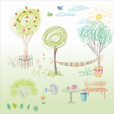 Kinderzeichnung in Vektor. Sommergarten mit einer Hängematte, eine Bank in der Nähe des Baumes. Vektorgrafik
