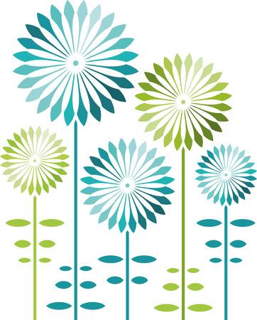 Abstrakte Blumen, blau und grün