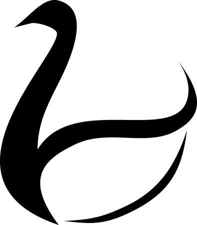 black swan: Vector minimalist black swan logo. Beautiful black swan tattoo