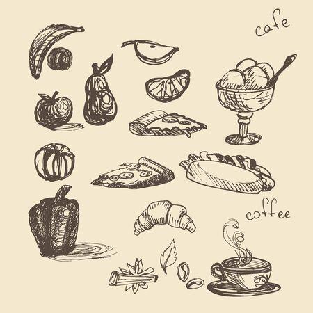 nuggets: Set with fast food illustration. Sketch vector illustration. Fast food restaurant