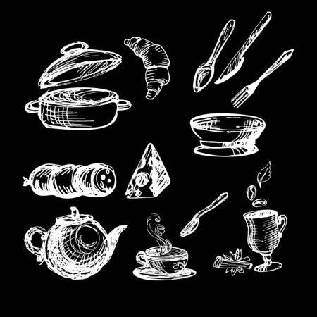 nuggets: Set white on black with kitchenware illustration. Sketch vector illustration Illustration