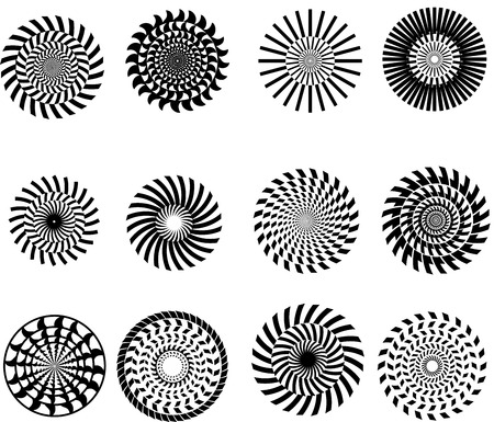 Vector set of black abstract patterned concentric circles.  Geometrical shape