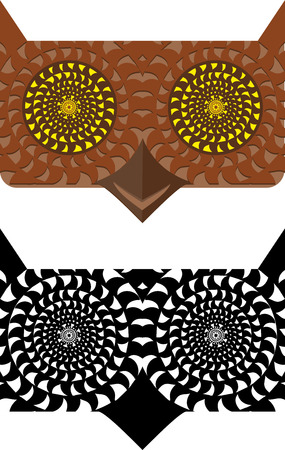intimidating: Psychedelic abstraction of an owl in black and white and color option.
