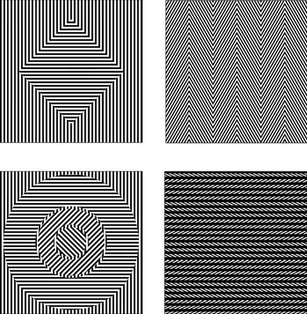 arte optico: Conjunto de vectores ilusiones ópticas en blanco y negro. textura transparente Vectores