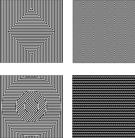 optical: Vector set black and white optical illusions. Seamless texture