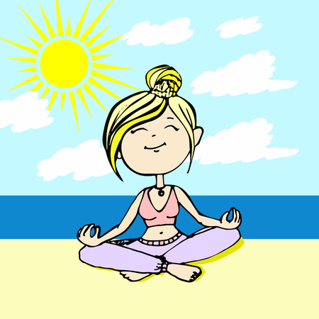 poses: Yogi thinks the girl sitting on the beach by the sea Illustration