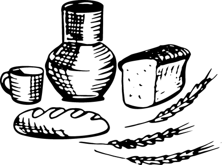 corn flakes: The set of gifts of the village, milk, bread. In black color, vector