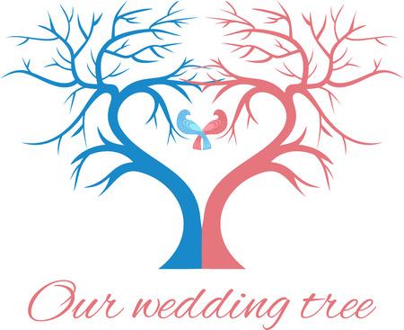 De bruiloft boom in de vorm van een hart met twee vogels