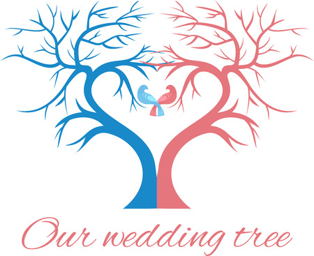 birds on branch: The wedding tree in the shape of a heart with two birds