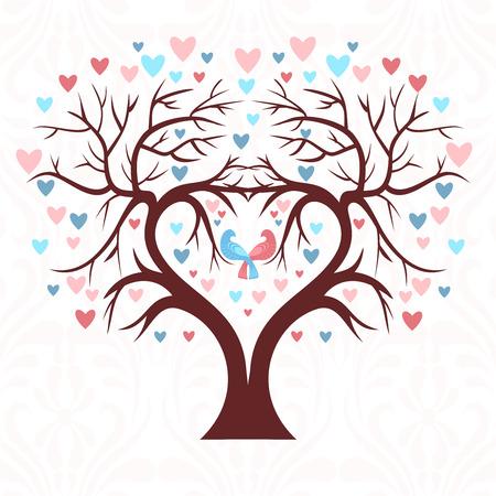 arbol genealógico: El árbol de la boda en la forma de un corazón con dos pájaros y corazones de colores en una hoja
