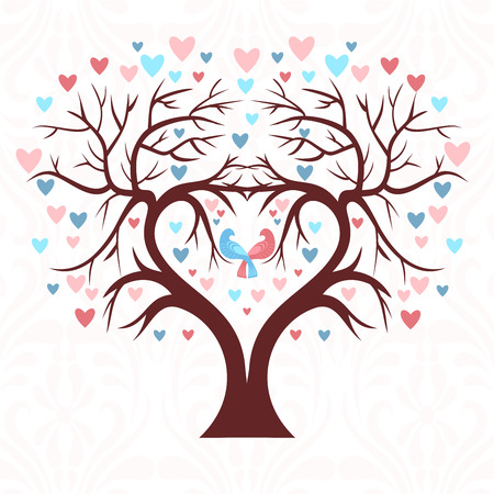 pink wedding: The wedding tree in the shape of a heart with two birds and colorful hearts in a leaf Illustration