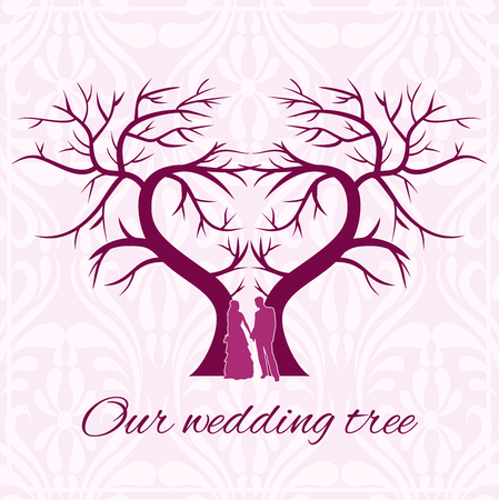 Wedding tree heart with silhouettes of lovers in warm colours.