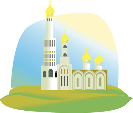 The Cathedral, the Church with Golden domes in green grass