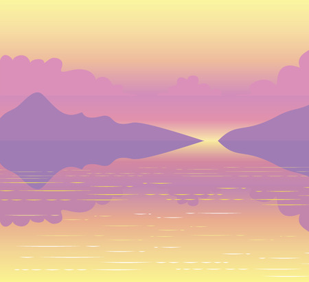 lake sunset: Scenic landscape pink sunset passing over the mountains and reflected on the water surface of the lake Illustration