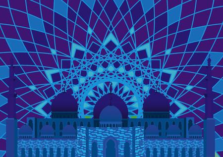 Muslim mosque in blue tones Stock Illustratie