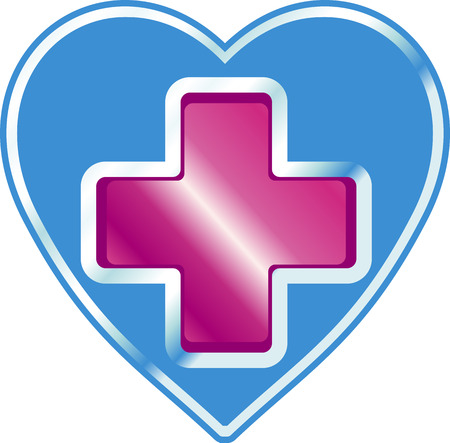 The clinic's sign in the shape of a heart with a red cross in the center