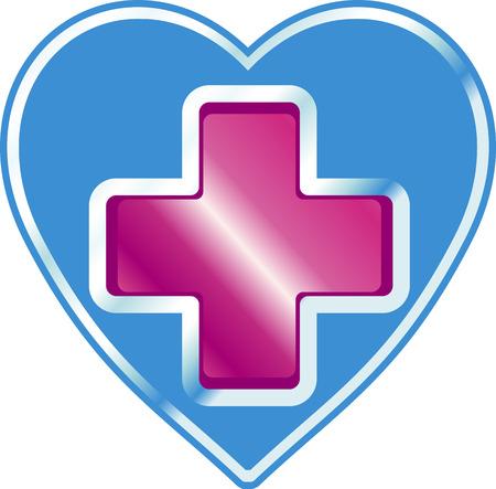 teken van de kliniek in de vorm van een hart met een rood kruis in het midden
