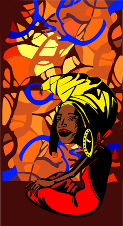 Stylized image of an adult African woman ethnic background Фото со стока - 66585210