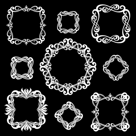 Set of monogram vintage frames for logos. White on black background