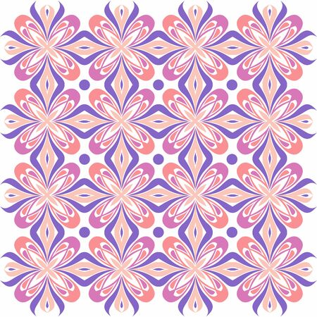 Floral pattern. Wallpaper baroque, damask. Seamless vector background. Purple and pink color