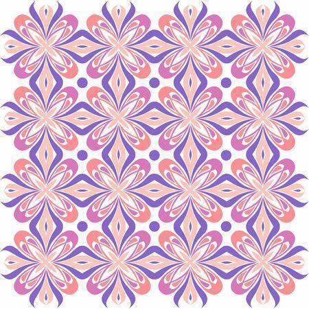 Bloemenpatroon. Achtergrond barok, damast. Naadloze vector achtergrond. Paars en roze kleur Stock Illustratie