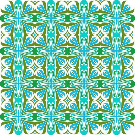 Bloemenpatroon. Achtergrond barok, damast. Naadloze vector achtergrond. Groene en blauwe kleur