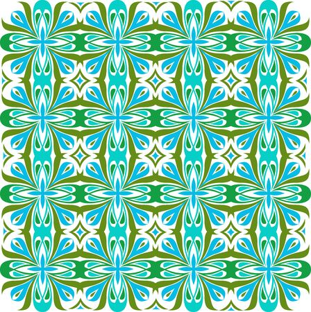 Floral pattern. Wallpaper baroque, damask. Seamless vector background. Green and blue color