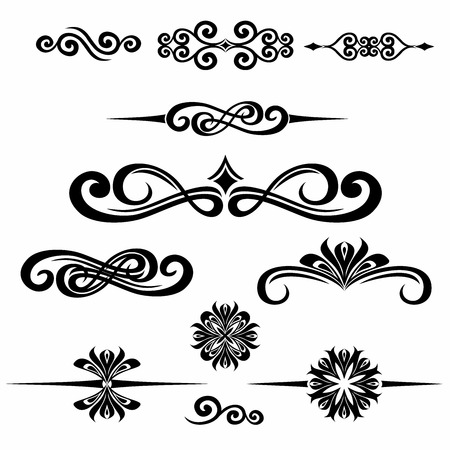 Collection of hand drawn vintage frame for text decoration in vector. The design of the banners of the site. Black Ilustracja