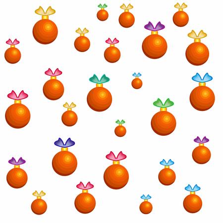 Textuur van kleurrijke kerstballen. Kerstbehang met speelgoed voor de kerstboom, op een witte achtergrond