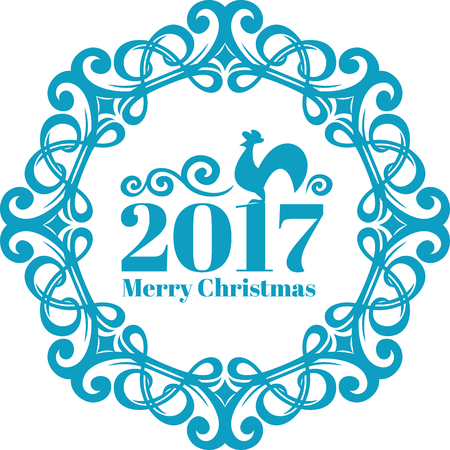 Vector Vintage frame on blue-ice color. New year card c symbol, the rooster. Merry christmas text Stock Illustratie