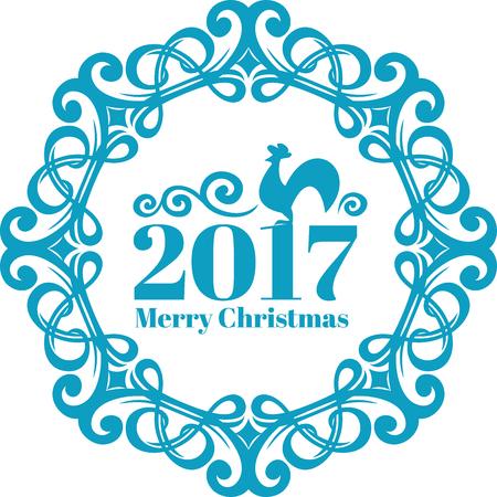 Vector Uitstekend frame op blauw-ijskleur. Nieuwjaarskaart c symbool, de haan. Vrolijk kerstfeest tekst Stock Illustratie