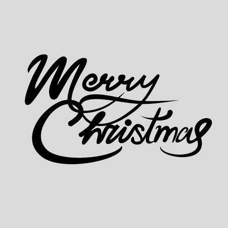Christmas card with black handwritten text, greeting merry Christmas Stock Illustratie