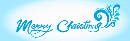 Christmas card with blue handwritten text and greetings merry Christmas, with a winter pattern Stock Illustratie