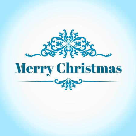 Vector Vintage frame on blue-ice color. Template for greeting Christmas cards. Merry christmas text