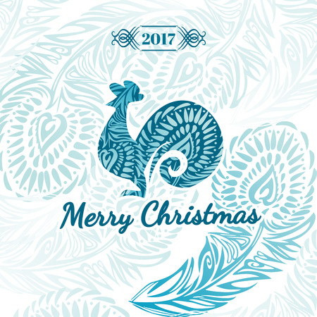 Greeting Christmas card 2017. With the symbol, the rooster, and stylized vintage feather pattern