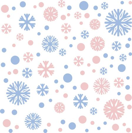 Christmas pattern their snow and snowflakes in the colors of serenity, rose quartz Ilustracja