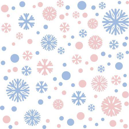 Kerstmis patroon hun sneeuw en sneeuwvlokken in de kleuren van rust, rose quartz