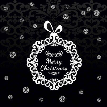 Zwarte kerst wenskaart met een vintage kerst bal. Met tekst vrolijke Kerstmis op de achtergrond van sneeuwvlokken Stock Illustratie