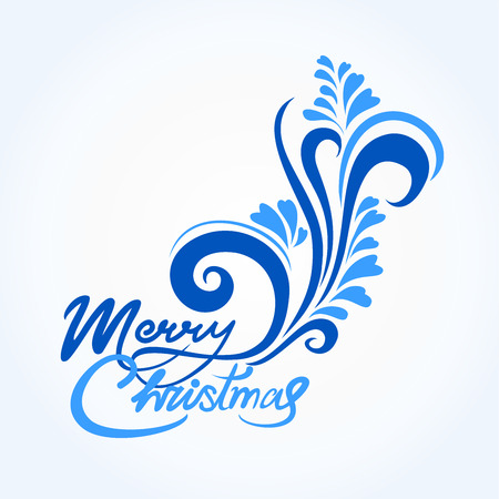 Christmas card with blue handwritten text and greetings merry Christmas, with a winter pattern. Blue and serenity colors