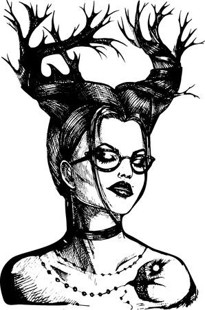 Abstractie meisje met hoorns en bril in vector. Hand tekenen