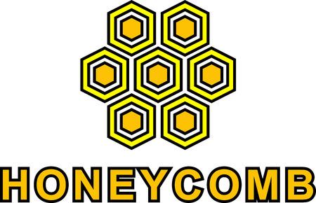 Honey logo vector illustration. Honeycomb label. Print