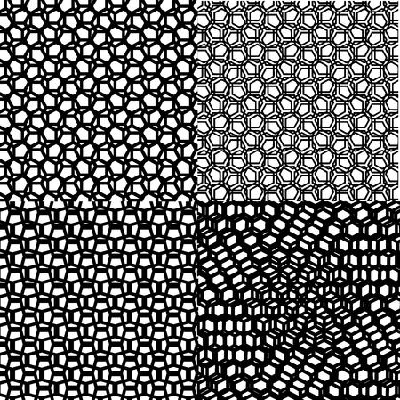 cubic: Black set cubic patterns of geometric squares Illustration